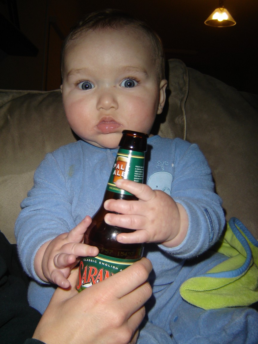 Toddler Drinks Beer