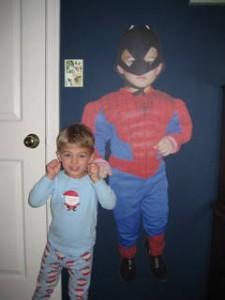 Flexing his superhero muscles